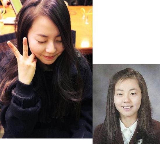 韩智慧:压轴的当然是单眼皮小眼睛韩星的代表韩智慧了!一出道就以单眼皮示人,虽然现在有时候会有双眼皮的造型,但是她的很多粉丝都坚信只是化妆效果。从《新娘18岁》到现在,真是一点都没变!在新代言中还是一张babyface,身材也一点都不像是人妻。