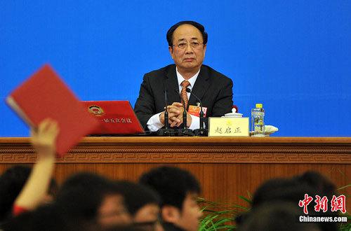 图为赵启正回答记者提问。中新网记者 金硕 摄