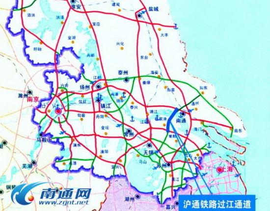 沪通铁路过江通道示意图