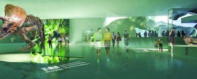 博物馆内部设计效果图。