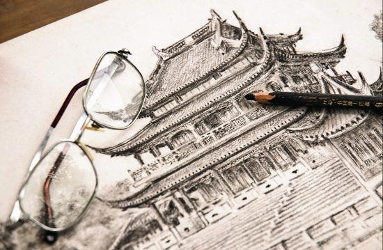 江南园林素描图