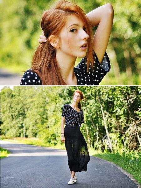 水玉圆点加上黑色长裙。