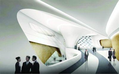 会议中心首层大堂效果图。