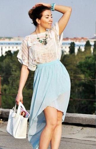 轻熟姿态漫纱不规则长裙穿出时尚感
