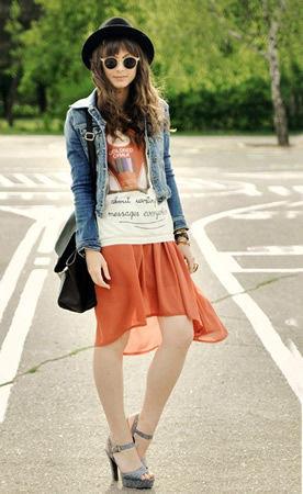 潮人示范不规则裙摆打造大长腿