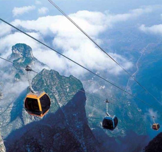 组图:全球五大最具挑战索道中国天门山上榜