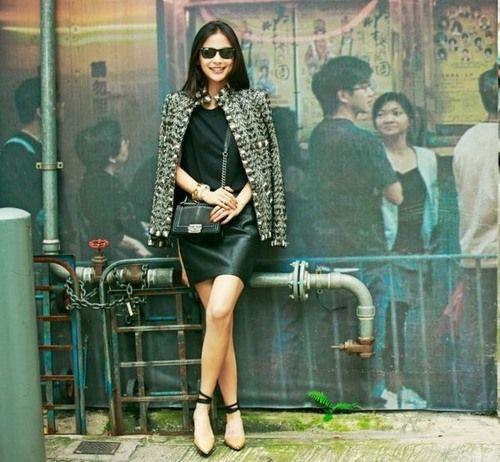 Angelababy街拍帅气性感双生花