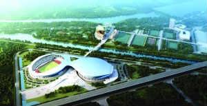 """1.8万座的体育场和2万座的全国最大室内体育馆,构成""""江鸥展翅""""奇景,建成后将成为南京江北唯一的大型综合体育场所"""