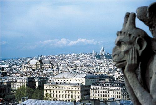 圣母院塔楼顶端可以看到蒙马特高地上的圣心堂