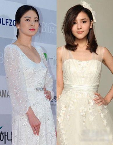 同是白色连衣裙,两人走向相反风格