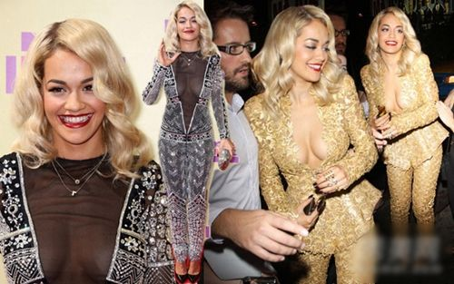 Rita Ora土豪金色西装套装与透视连体裤