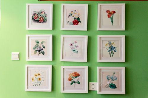 墙上的是关于花草的装饰画
