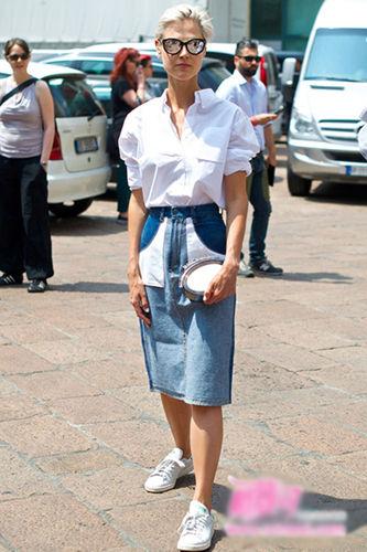 经典白衬衫+拼接牛仔包臀裙