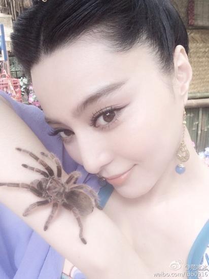 范冰冰与蜘蛛亲密接触