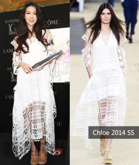 薛凯琪身穿Chloe 2014春夏系列白色网眼镂空长裙