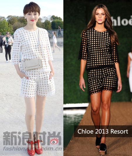 孙俪Chloe2013早春系列的白色镂空波点短裤套装