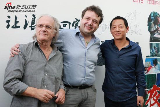 《夜莺》导演、法国制片人、中方制片代表(从左往右)
