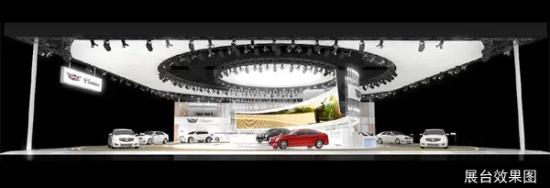 展台中心圆形的焦点设计配以双层水晶灯柱阵列环绕,将所见之物与反射