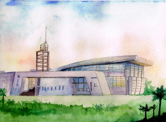 图为手绘学校的体育馆