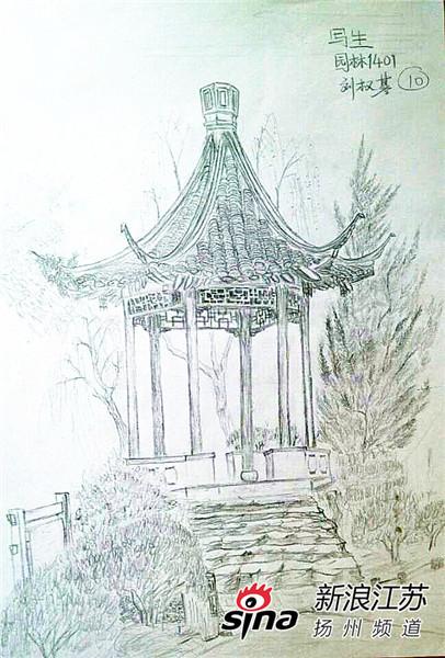 扬州园林手绘图走红