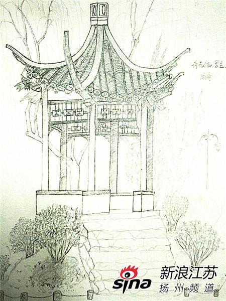 """扬大学生晒""""素描版""""扬州园林手绘图走红(3)"""