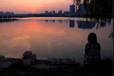 暮色中的百家湖
